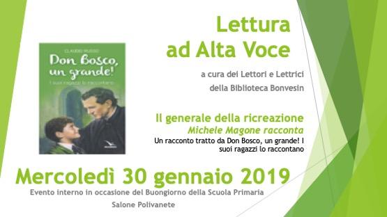 Lettura Ad Alta Voce: Don Bosco raccontato attraverso la voce dei suoi ragazzi
